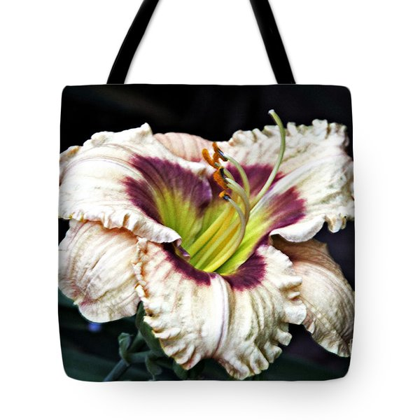Peachy With Ruffles Lily Tote Bag by Elizabeth Winter