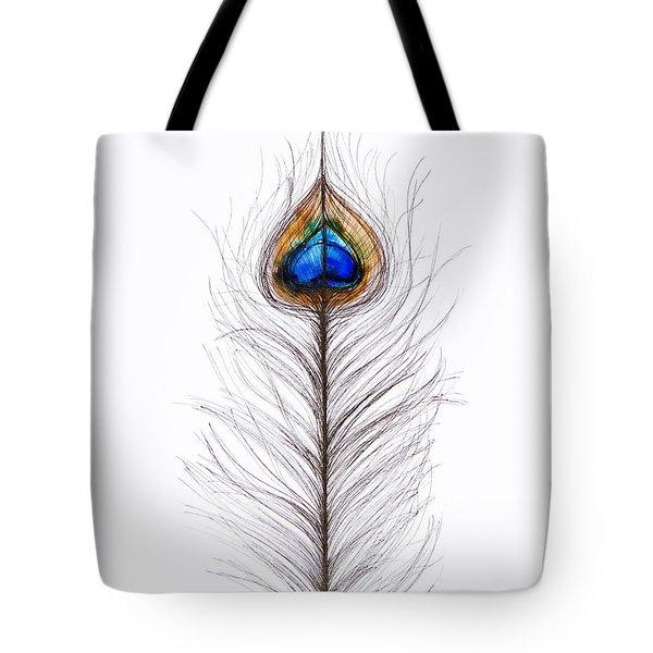 Peacock Abstract Tote Bag by Tara Thelen