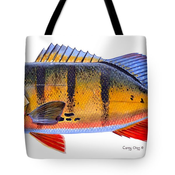 Peacock Bass Tote Bag by Carey Chen