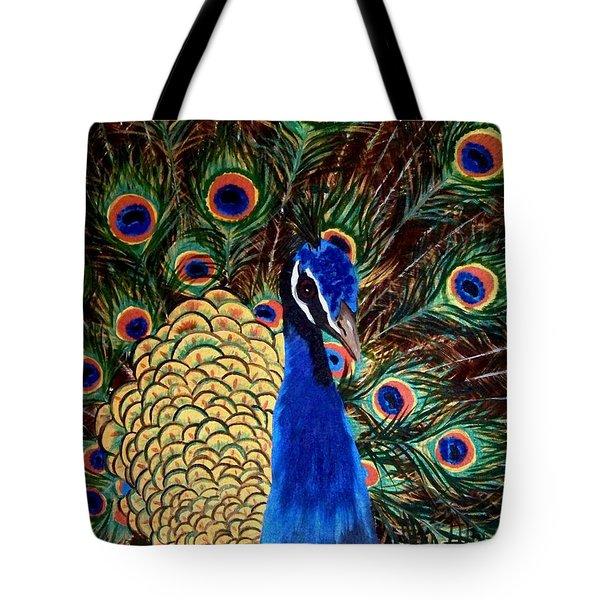 Peacock Tote Bag by Debbie LaFrance
