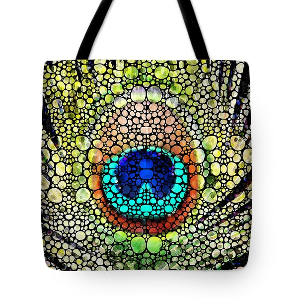 Peacock Feather - Stone Rock'd Art By Sharon Cummings Tote Bag by Sharon Cummings