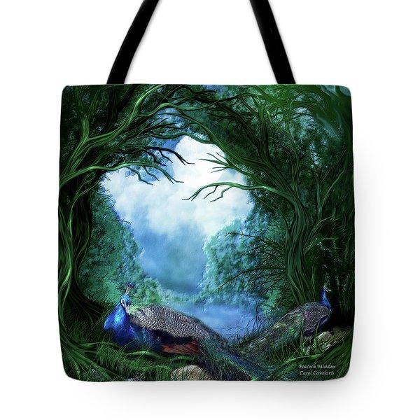 Peacock Meadow Tote Bag by Carol Cavalaris
