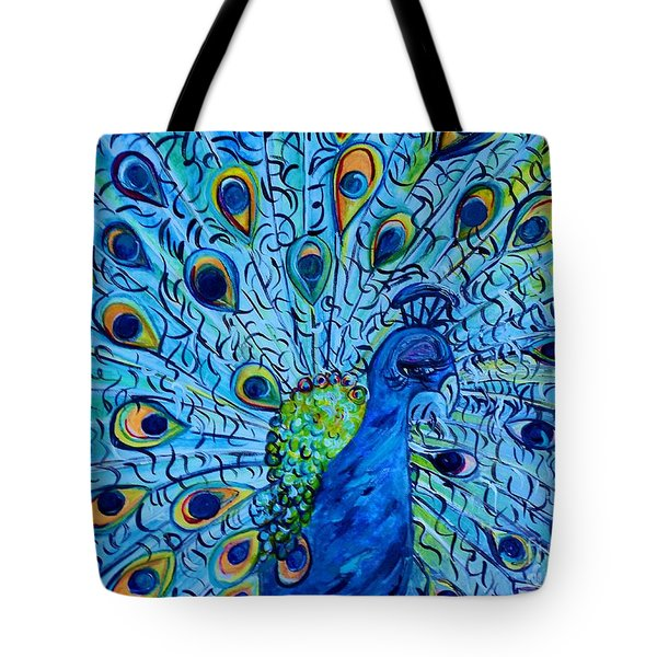Peacock On Blue Tote Bag by Eloise Schneider