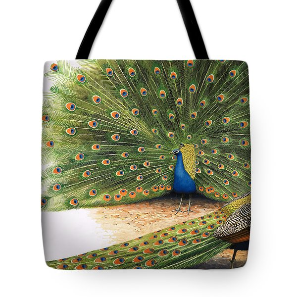 Peacocks Tote Bag by RB Davis