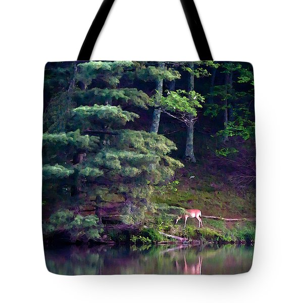 Peaks Of Otter Deer Tote Bag by John Haldane