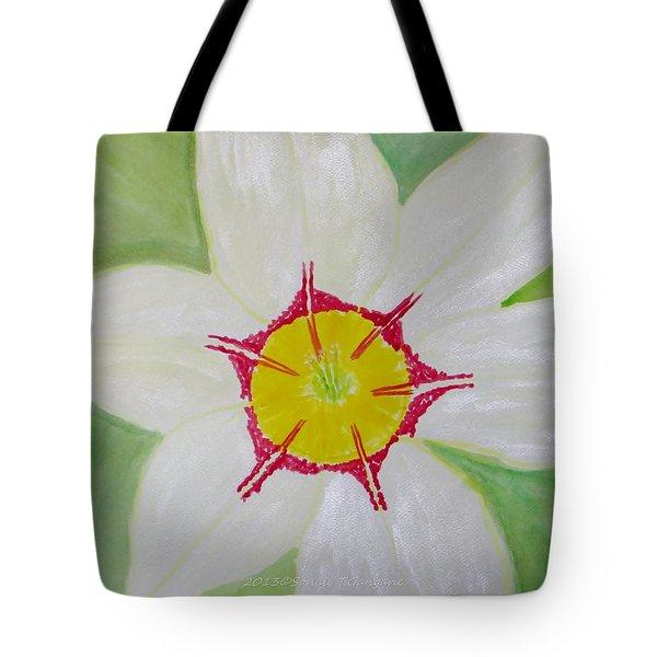 Pearl White Flower Tote Bag by Sonali Gangane