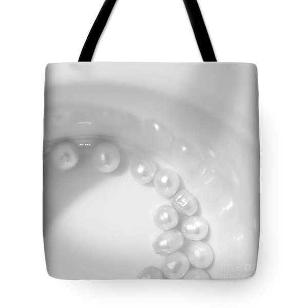 Pearls On A Cup Tote Bag by Stelios Kleanthous