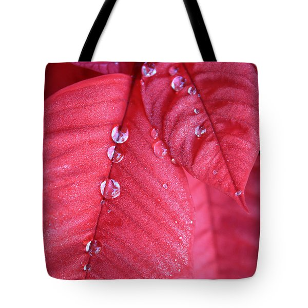 Pearls On Poinsettia Tote Bag by Carol Groenen
