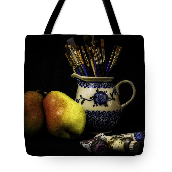 Pears And Paints Still Life Tote Bag by Jon Woodhams