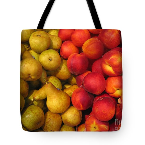 Pears And Peaches. Fresh Market Series Tote Bag by Ausra Huntington nee Paulauskaite