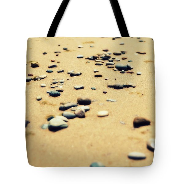 Pebbles On The Beach Tote Bag by Michelle Calkins