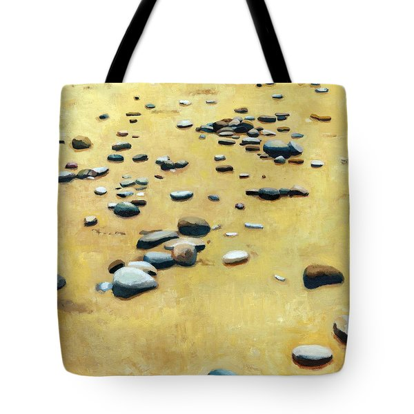 Pebbles on the Beach - Oil Tote Bag by Michelle Calkins