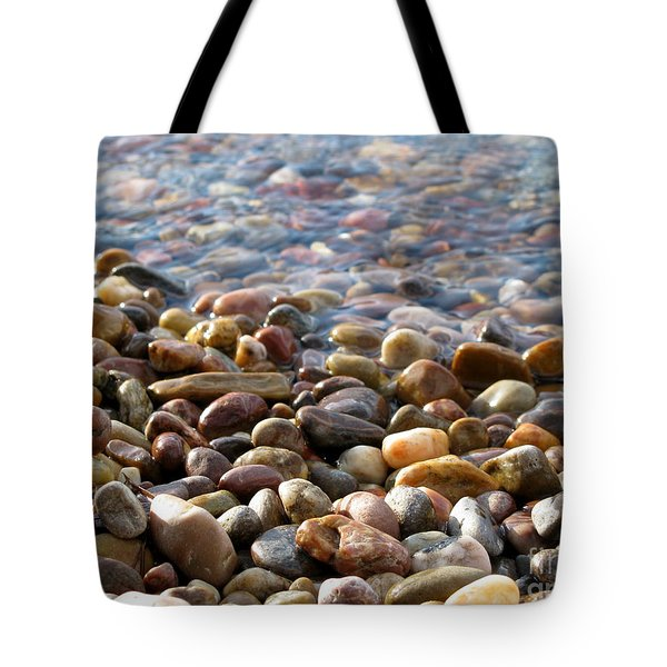 Pebbles On The Shore Tote Bag by Leone Lund