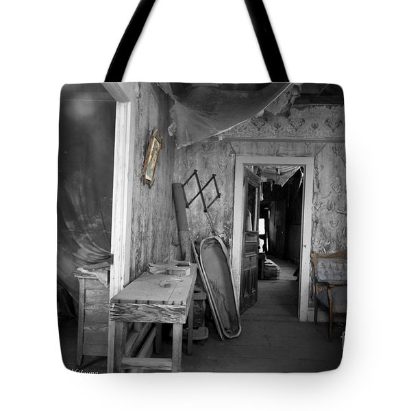 Peeking In The Old Mortuary Tote Bag by Cheryl Young