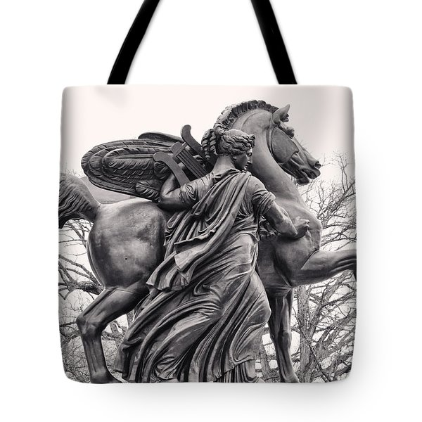 Pegasus Tamed By The Muses Erato And Calliope Tote Bag by Bill Cannon