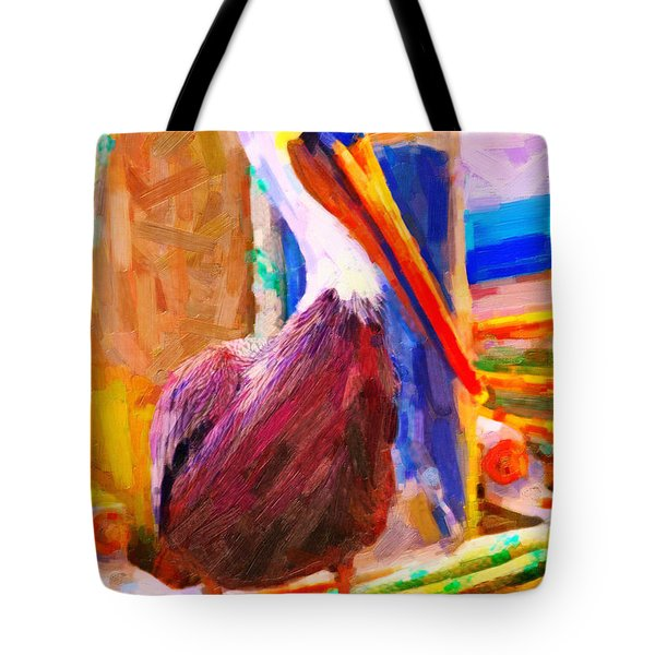 Pelican On The Dock Tote Bag by Wingsdomain Art and Photography