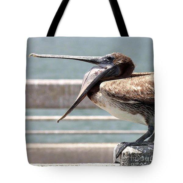 Pelican Yawn - Digital Painting Tote Bag by Carol Groenen