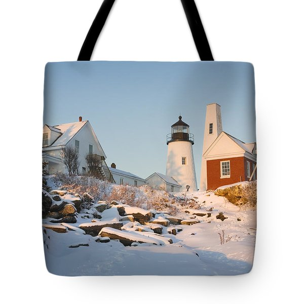 Pemaquid Point Lighthouse Winter in Maine  Tote Bag by Keith Webber Jr