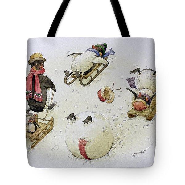 Penguins Sledging Tote Bag by Kestutis Kasparavicius