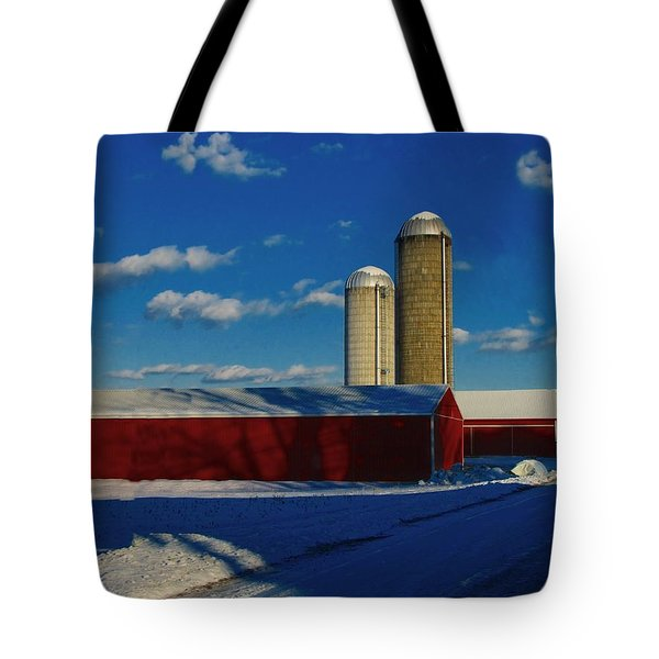 Pennsylvania Winter Red Barn  Tote Bag by David Dehner