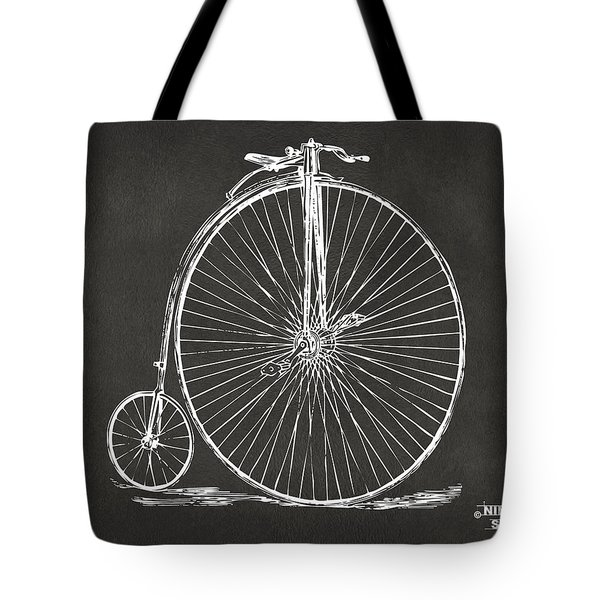 Penny-farthing 1867 High Wheeler Bicycle Patent - Gray Tote Bag by Nikki Marie Smith