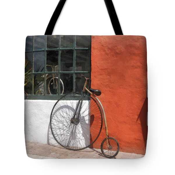 Penny-farthing In Front Of Bike Shop Tote Bag by Susan Savad