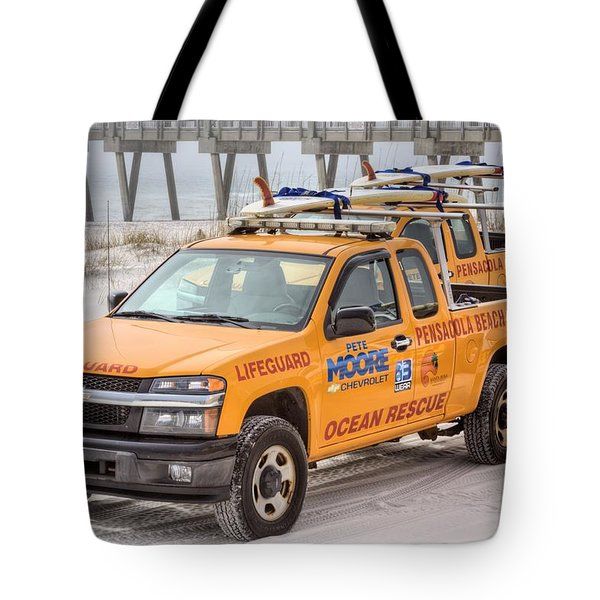 Pensacola Beach Lifeguards Tote Bag by JC Findley