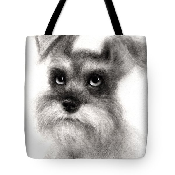 Pensive Schnauzer Dog painting Tote Bag by Svetlana Novikova