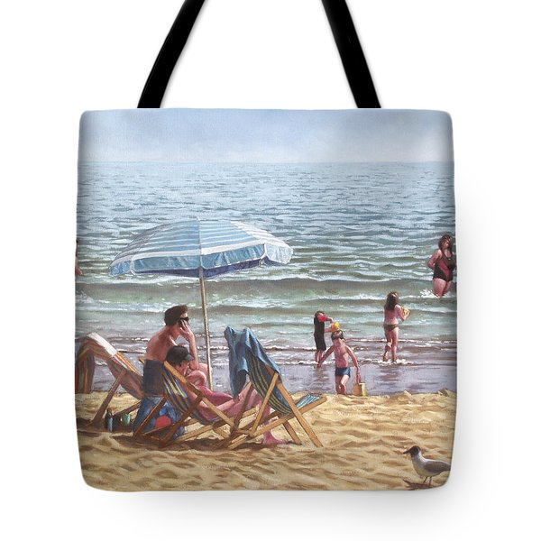People On Bournemouth Beach Parasol Tote Bag by Martin Davey