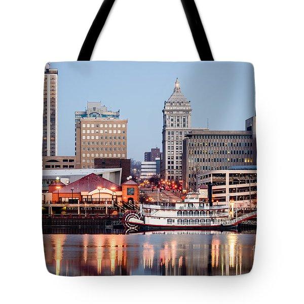 Peoria Illinois Skyline Tote Bag by Paul Velgos