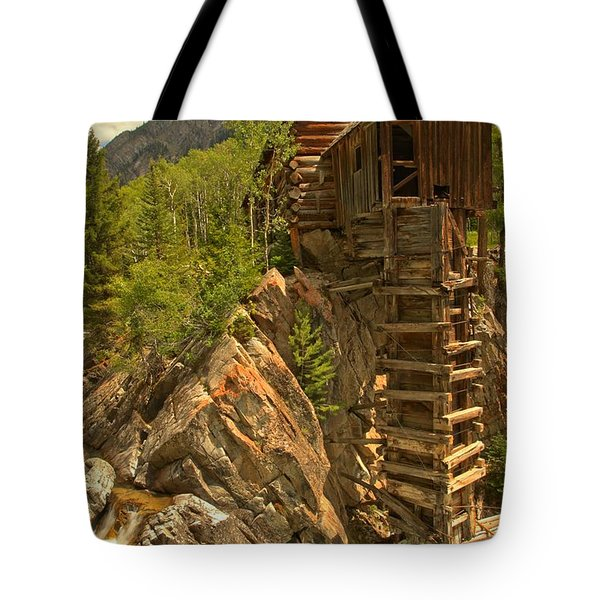 Perched On The Edge Tote Bag by Adam Jewell