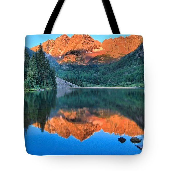 Perfect Reflections At The Bells Tote Bag by Adam Jewell