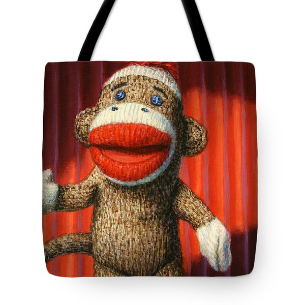 Performing Sock Monkey Tote Bag by James W Johnson