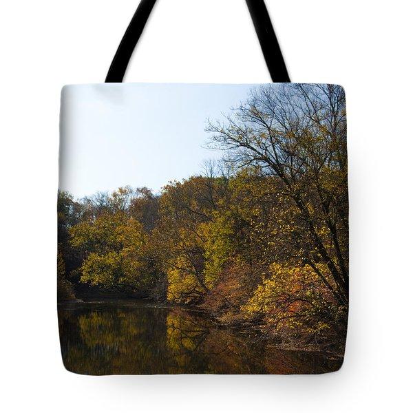 Perkiomen Creek In Autumn Tote Bag by Bill Cannon