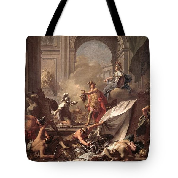 Perseus, Under The Protection Of Minerva, Turns Phineus To Stone By Brandishing The Head Of Medusa Tote Bag by Jean-Marc Nattier