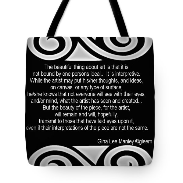 Personal Quotation About Art Tote Bag by Gina Lee Manley