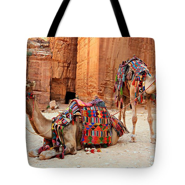 Petra Camels Tote Bag by Stephen Stookey