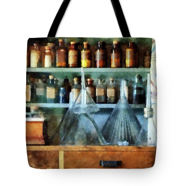 Pharmacist - Glass Funnels And Barber Pole Tote Bag by Susan Savad