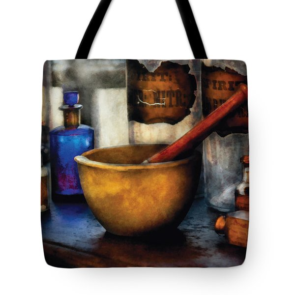 Pharmacist - Mortar and Pestle Tote Bag by Mike Savad
