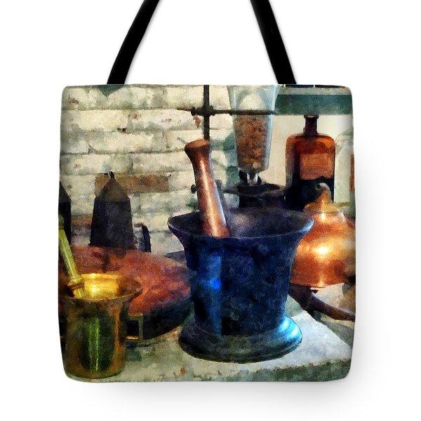 Pharmacist - Three Mortar And Pestles Tote Bag by Susan Savad