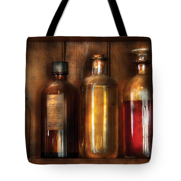 Pharmacist - Various Elixirs Tote Bag by Mike Savad