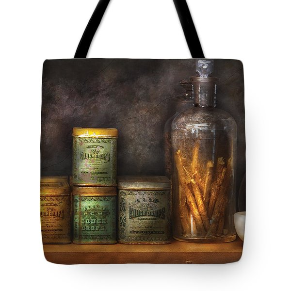 Pharmacy - Cough Drops And Kidney Pills Tote Bag by Mike Savad