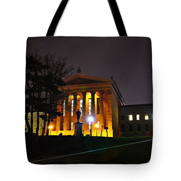Philadelphia Art Museum  at Night from the Rear Tote Bag by Bill Cannon