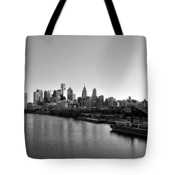 Philadelphia Black and White Tote Bag by Bill Cannon