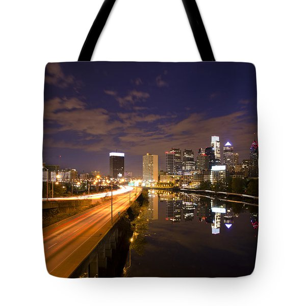 Philadelphia Cityscape from South Street at Night Tote Bag by Bill Cannon