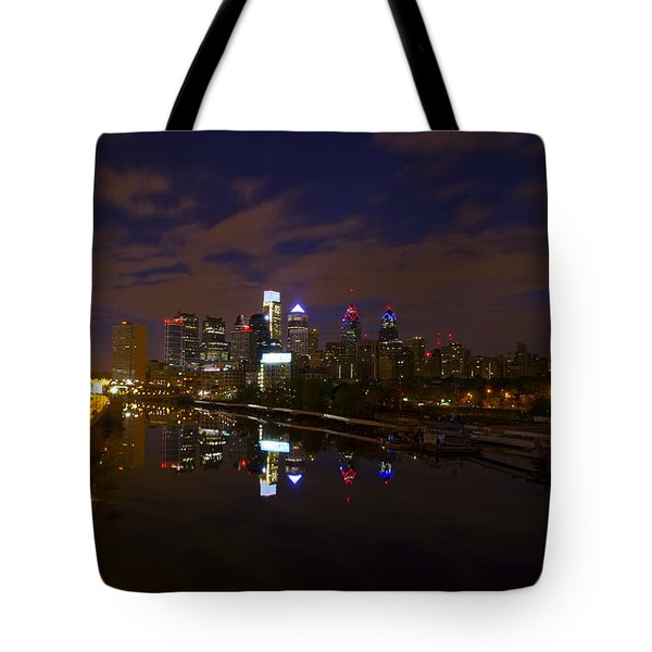 Philadelphia From South Street At Night Tote Bag by Bill Cannon