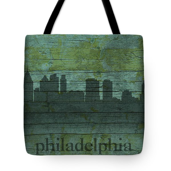 Philadelphia Pennsylvania Skyline Art On Distressed Wood Boards Tote Bag by Design Turnpike