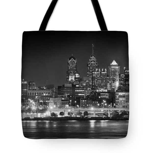 Philadelphia Philly Skyline At Night From East Black And White Bw Tote Bag by Jon Holiday
