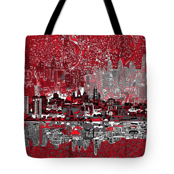 Philadelphia Skyline Abstract 4 Tote Bag by Bekim Art