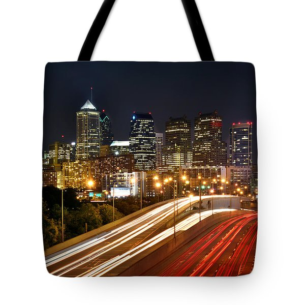Philadelphia Skyline At Night In Color Car Light Trails Tote Bag by Jon Holiday